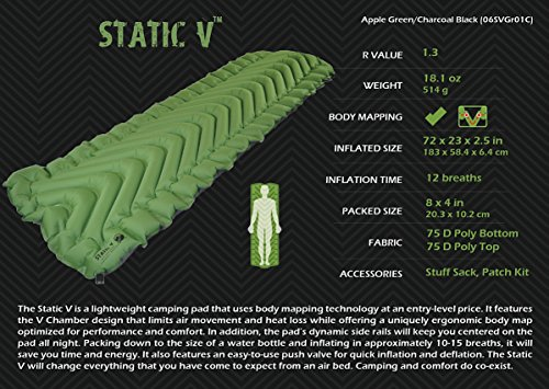 Klymit-Static-V-Inflatable-Sleeping-Pad-GreenBlack-Large-0-2